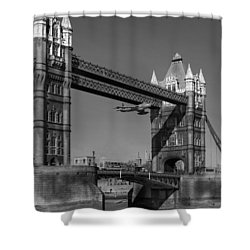 Shower Curtain featuring the photograph Seven Seconds - The Tower Bridge Hawker Hunter Incident Bw Versio by Gary Eason
