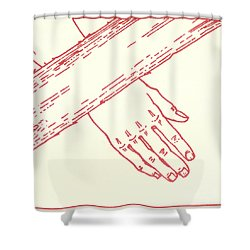 Shower Curtain featuring the drawing Seventh Station- Jesus Falls The Second Time  by William Hart McNichols