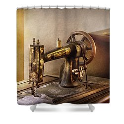 Sewing - A Black And White Sewing Machine  Shower Curtain by Mike Savad