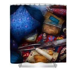 Sewing - Devoting To Sewing  Shower Curtain by Mike Savad