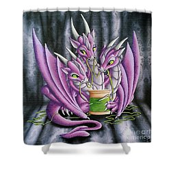 Shower Curtain featuring the painting Sewing Dragons by Mary Hoy