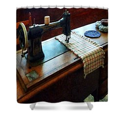Sewing Machine And Pincushions Shower Curtain by Susan Savad