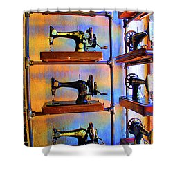 Sewing Machine Retirement Shower Curtain by Jost Houk