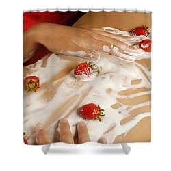 Sexy Nude Woman Body Covered With Cream And Strawberries Shower Curtain