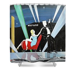 Sexy Starlet Sitting In Chair With Dashing Debonaire Date Shower Curtain