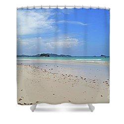 Shower Curtain featuring the digital art Seychelles Islands 4 by Eva Kaufman