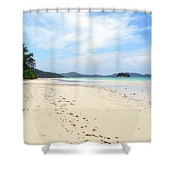 Shower Curtain featuring the digital art Seychelles Islands 5 by Eva Kaufman
