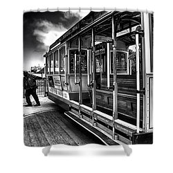 Shower Curtain featuring the photograph Sf Cable Car Turn About by Joseph Hollingsworth