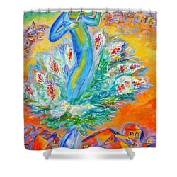 Shabbat Shalom Shower Curtain by Leon Zernitsky