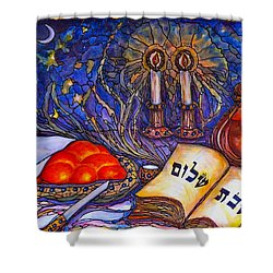 Shower Curtain featuring the painting Shabbat Shalom by Rae Chichilnitsky