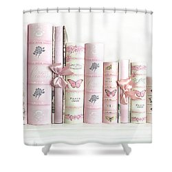 Shower Curtain featuring the photograph Shabby Chic Pink Books Collection - Paris Pink Books Art Prints Home Decor by Kathy Fornal