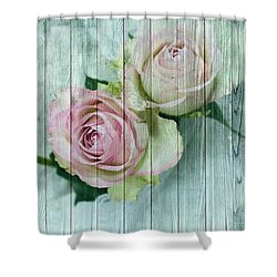 Shabby Chic Pink Roses On Blue Wood Shower Curtain