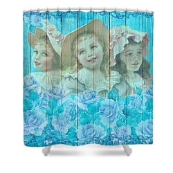 Shabby Chic Vintage Little Girls And Roses On Wood Shower Curtain
