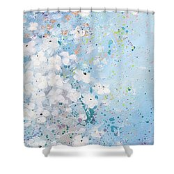 Shower Curtain featuring the painting Shabby Nine by Laura Lee Zanghetti