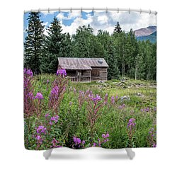 Shack With Fireweed Shower Curtain