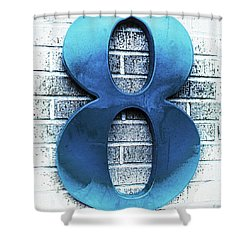 Shades  Of Blue Number Eight Square Shower Curtain