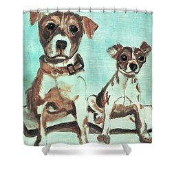 Shadow Dogs Shower Curtain by Terry Lewey