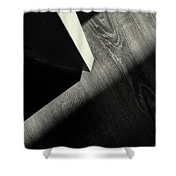 Shower Curtain featuring the photograph Shadow Light Door Abstract One by John Williams