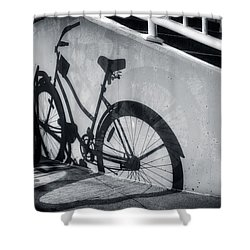 Shadow Of A Bike At Carolina Beach Shower Curtain
