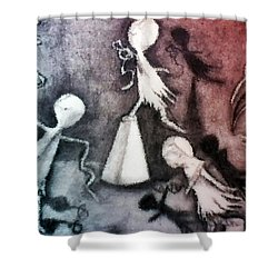 Shower Curtain featuring the drawing Mixed Media Drawing Of Shadowed Ballet Dancers By Ayasha Loya by Ayasha Loya