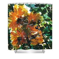 Shadows Of Sunflowers Shower Curtain by Garima Srivastava