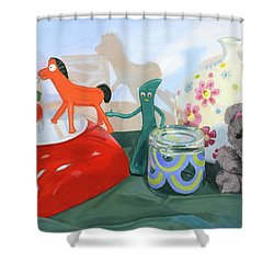 Shower Curtain featuring the painting Shadows Of The Past by Lynne Reichhart
