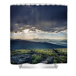 Shower Curtain featuring the photograph Shadows Over Mountains by Chris Bordeleau