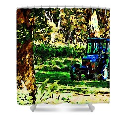 Shower Curtain featuring the painting Shady Tractor by Angela Treat Lyon