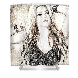 Shakira - Pencil Art Shower Curtain by Raina Shah