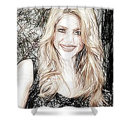 Shakira Shower Curtain by Raina Shah