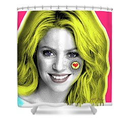 Shakira, Pop Art, Pop Art, Portrait, Contemporary Art On Canvas, Famous Celebrities Shower Curtain by Dr Eight Love