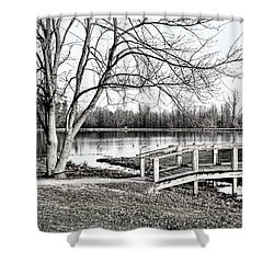 Shallow Creek Footbridge - B/w Shower Curtain