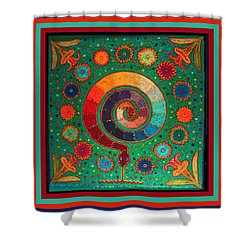 Shaman Serpent Ritual Shower Curtain by Vagabond Folk Art - Virginia Vivier