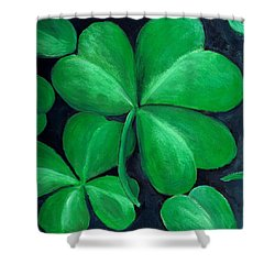 Shamrocks Shower Curtain by Nancy Mueller