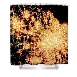 Shanghai From Space Shower Curtain by Delphimages Photo Creations