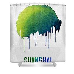 Shanghai Skyline Blue Shower Curtain