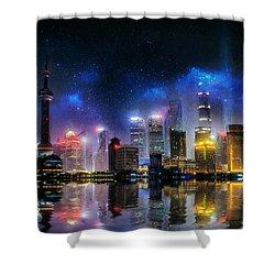 Shanghai Skyline Shower Curtain by Ian Mitchell