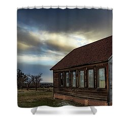 Shower Curtain featuring the photograph Shaniko Schoolhouse by Cat Connor