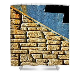 Shapes And Forms Of Station Stairway Shower Curtain by Gary Slawsky
