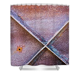 Shower Curtain featuring the photograph Shapes And Textures On Bunker Door by Gary Slawsky