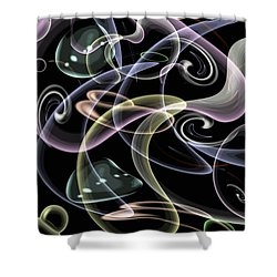 Shapes Of Fluidity Shower Curtain by Kaye Menner