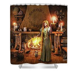Shower Curtain featuring the painting Share My Fire And Candle Light by Dave Luebbert