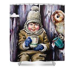 Sharing A Hot Chocolate Shower Curtain by Geni Gorani