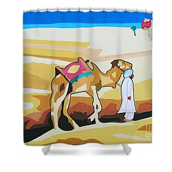 Shower Curtain featuring the painting Sharing The Journey by Ragunath Venkatraman