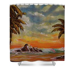 Sharks Cove North Shore Oahu #394 Shower Curtain by Donald k Hall