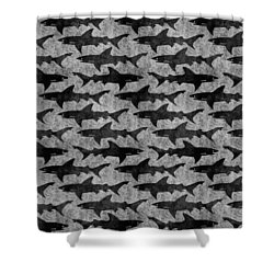 Sharks In Gray And Black Shower Curtain by Antique Images