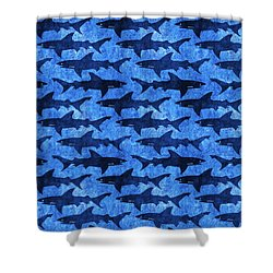 Sharks In The Deep Blue Sea Shower Curtain by Antique Images
