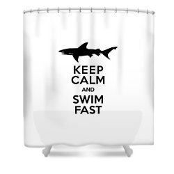 Sharks Keep Calm And Swim Fast Shower Curtain by Antique Images