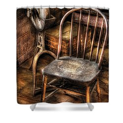 Sharpener - Grinder And A Chair Shower Curtain by Mike Savad