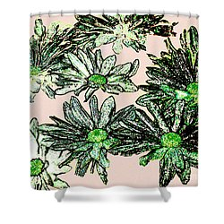 Shasta Daisies Watercolor Sketch Shower Curtain